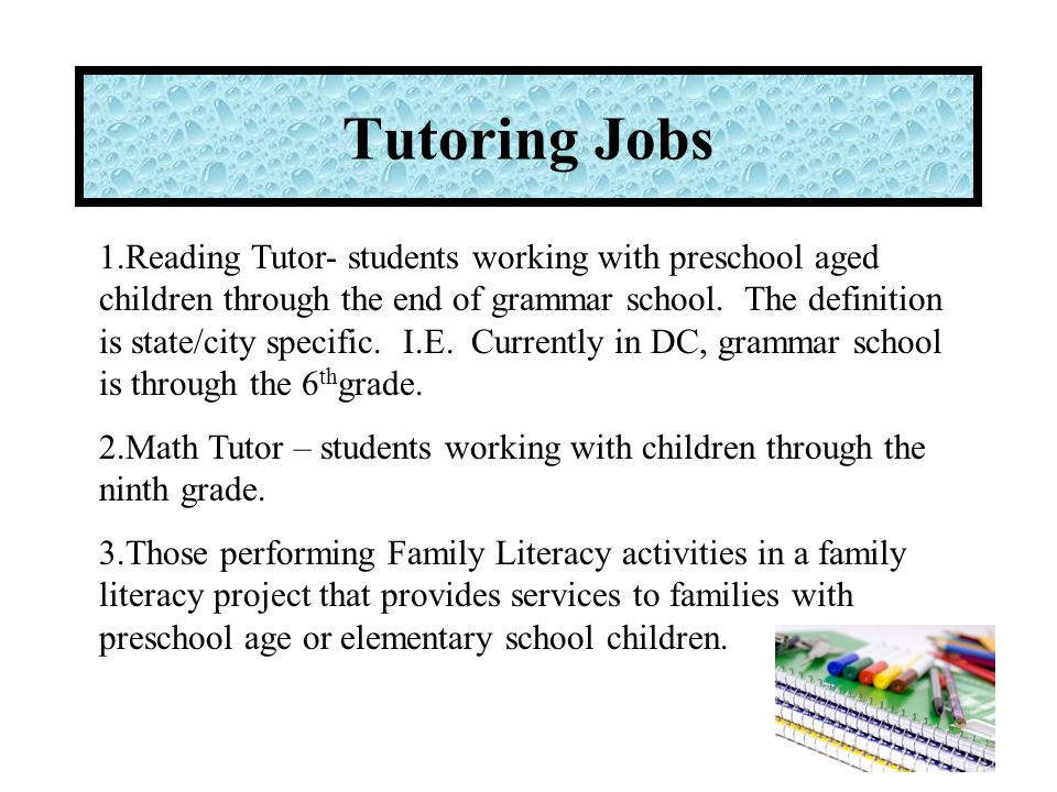 Tutoring Jobs These students may be paid using a 100% waiver.