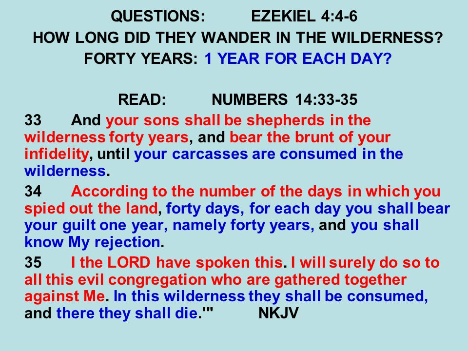 QUESTIONS:EZEKIEL 4:4-6 HOW LONG DID THEY WANDER IN THE WILDERNESS? FORTY YEARS: 1 YEAR FOR EACH DAY? READ:NUMBERS 14:33-35 33And your sons shall be s