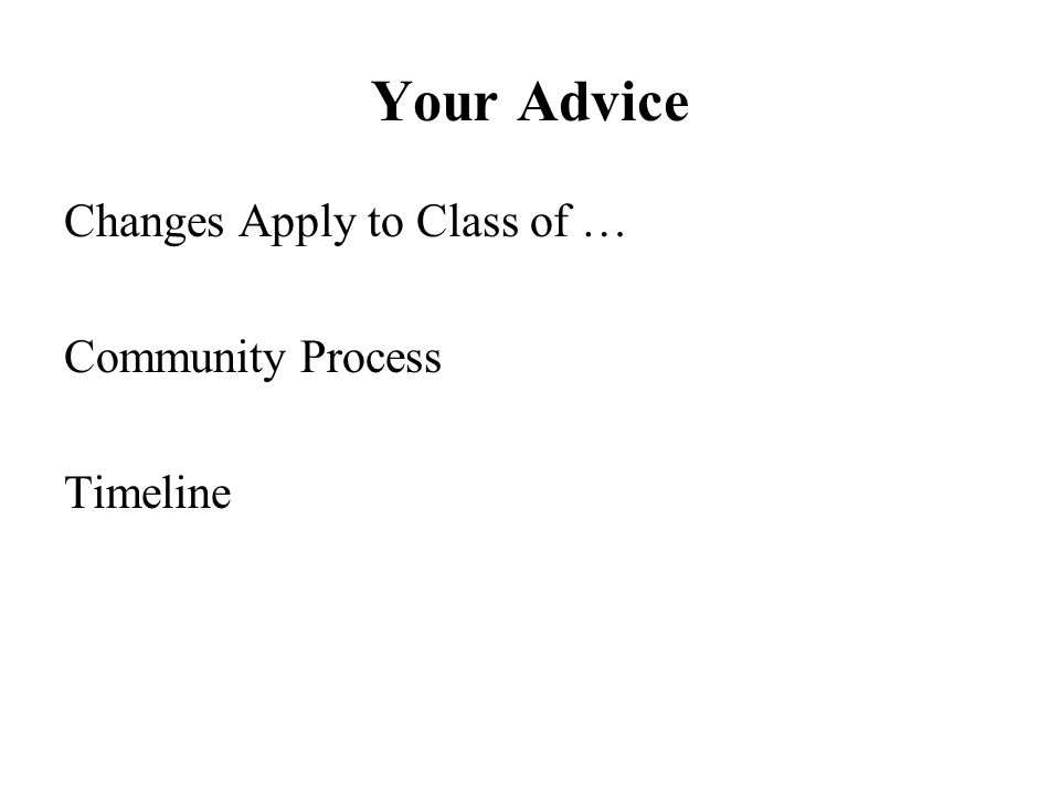 Your Advice Changes Apply to Class of … Community Process Timeline