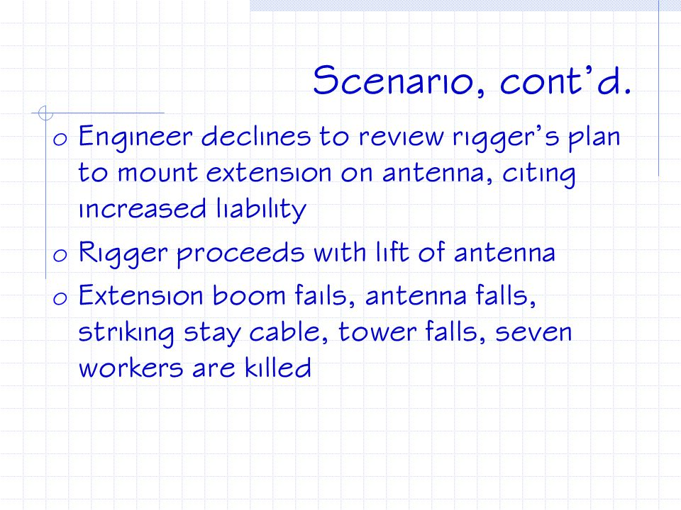 Scenario, cont'd. o Engineer denies rigger's request to remove baskets (the last contractor he allowed to remove baskets caused expensive damage to an