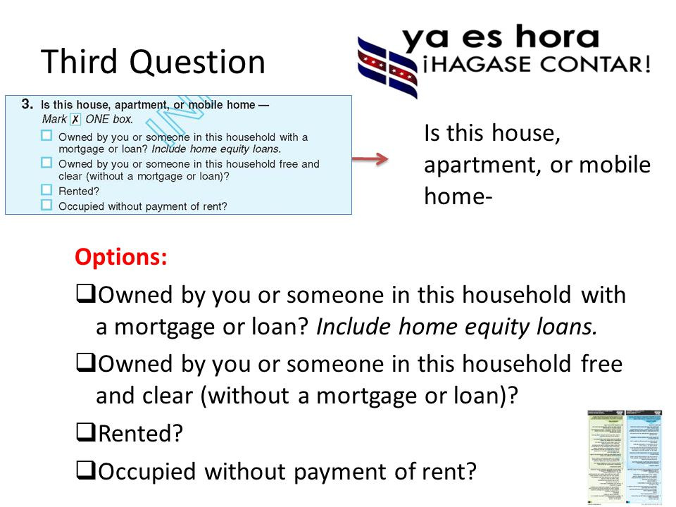 Third Question Options:  Owned by you or someone in this household with a mortgage or loan.