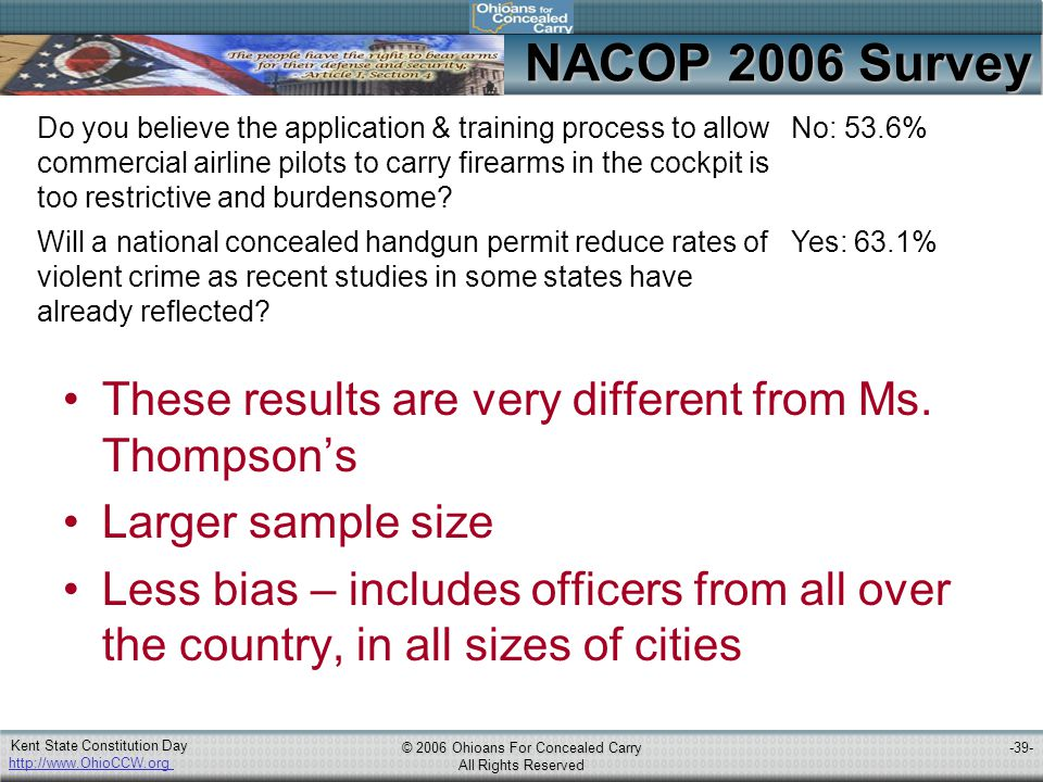 http://www.OhioCCW.org © 2006 Ohioans For Concealed Carry All Rights Reserved Kent State Constitution Day -39- NACOP 2006 Survey Do you believe the application & training process to allow commercial airline pilots to carry firearms in the cockpit is too restrictive and burdensome.