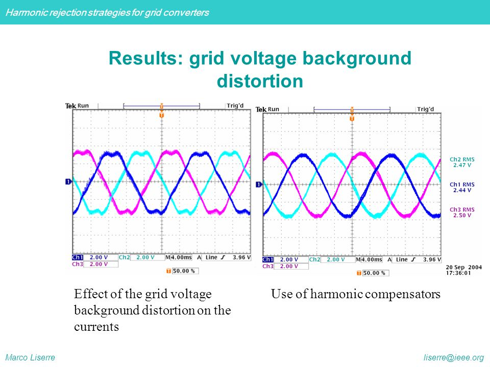 Harmonic rejection strategies for grid converters Marco Liserre liserre@ieee.org Effect of the grid voltage background distortion on the currents Use