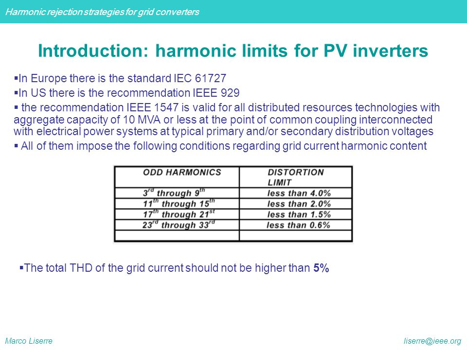 Harmonic rejection strategies for grid converters Marco Liserre liserre@ieee.org  In Europe the standard 61400-21 recommends to apply the standard 61000-3-6 valid for polluting loads requiring the current THD smaller than 6-8 % depending on the type of network.