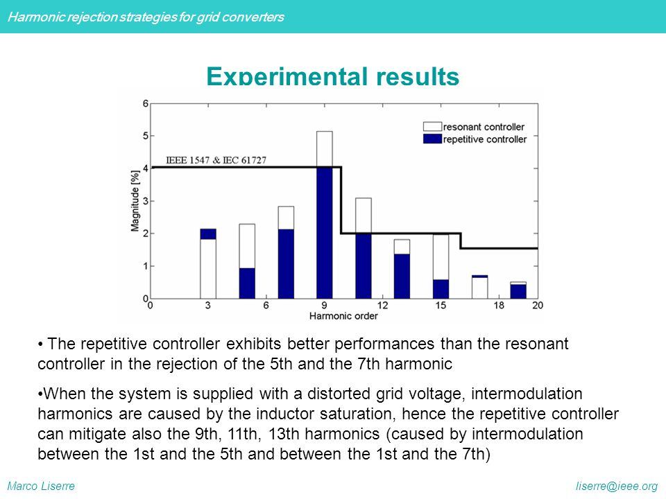 Harmonic rejection strategies for grid converters Marco Liserre liserre@ieee.org Experimental results The repetitive controller exhibits better perfor
