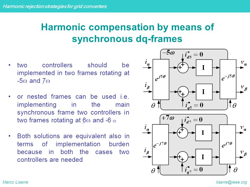 Harmonic rejection strategies for grid converters Marco Liserre liserre@ieee.org Experimental Setup: Polytechnic of Bari Dc power supplies RLC load filtering inductance DSpace 1104 power analyzer inverter
