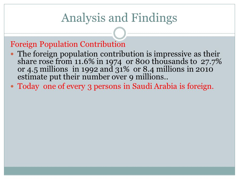 Analysis and Findings Foreign Population Contribution The foreign population contribution is impressive as their share rose from 11.6% in 1974 or 800 thousands to 27.7% or 4.5 millions in 1992 and 31% or 8.4 millions in 2010 estimate put their number over 9 millions..