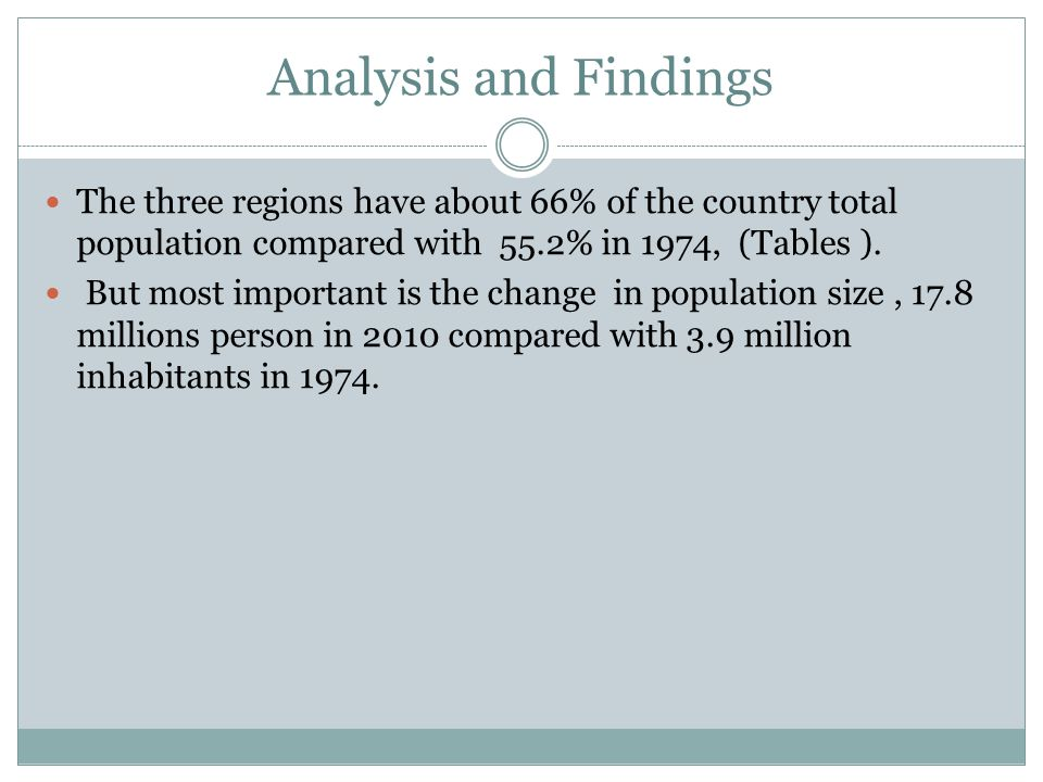 Analysis and Findings The three regions have about 66% of the country total population compared with 55.2% in 1974, (Tables ). But most important is t