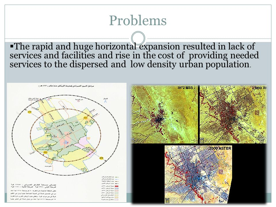 Problems  The rapid and huge horizontal expansion resulted in lack of services and facilities and rise in the cost of providing needed services to the dispersed and low density urban population.