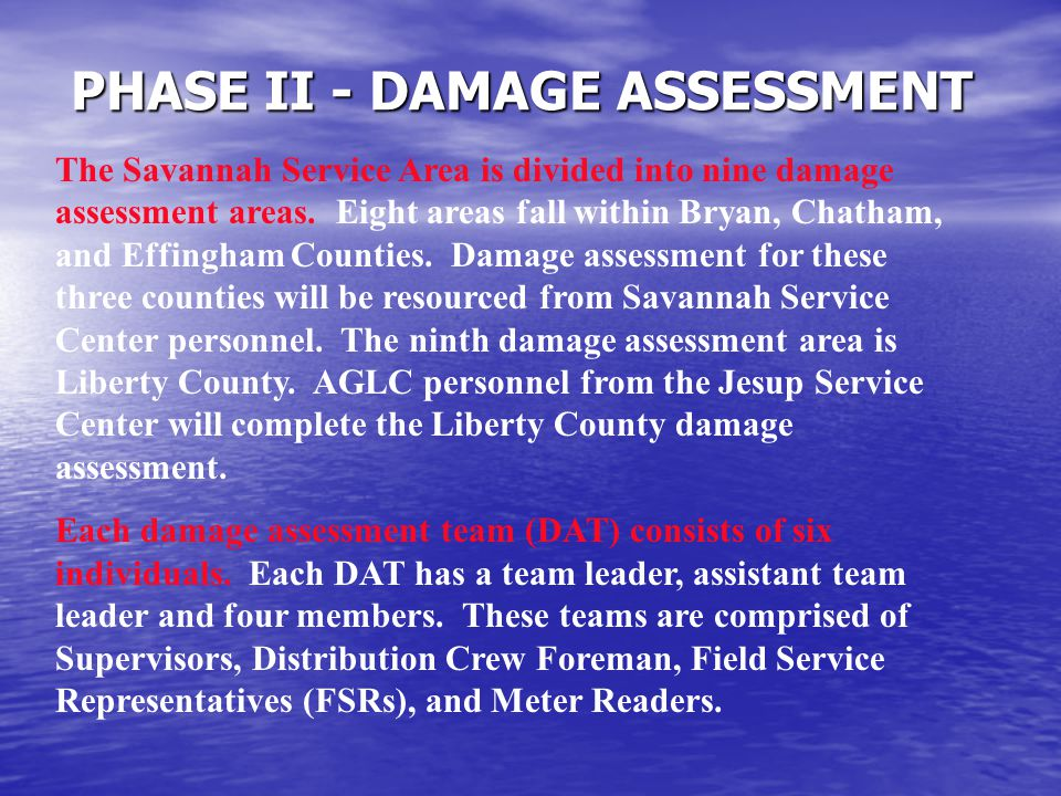 PHASE II - DAMAGE ASSESSMENT The Savannah Service Area is divided into nine damage assessment areas.