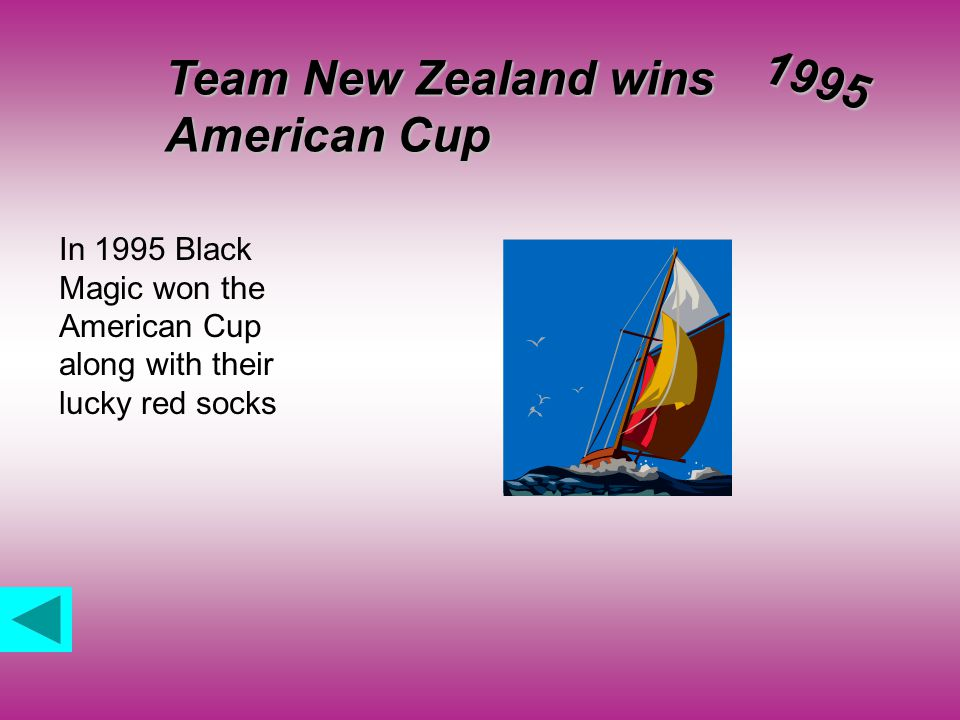 Team New Zealand wins American Cup 1995 In 1995 Black Magic won the American Cup along with their lucky red socks
