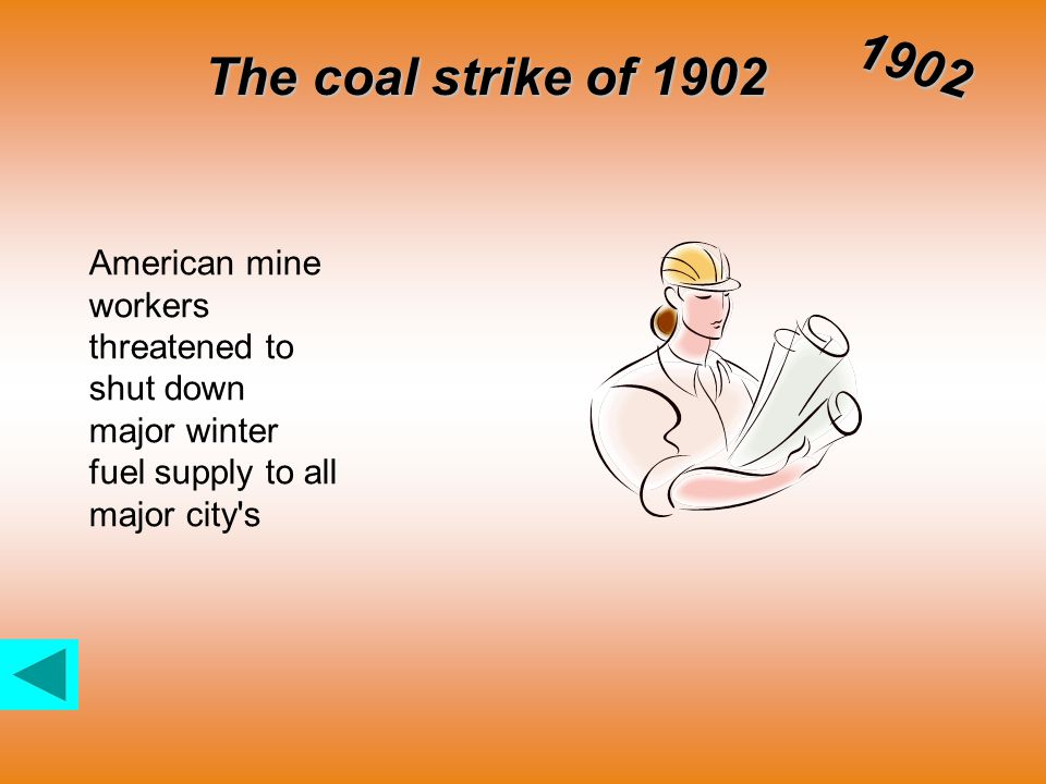 The coal strike of 1902 1902 American mine workers threatened to shut down major winter fuel supply to all major city s