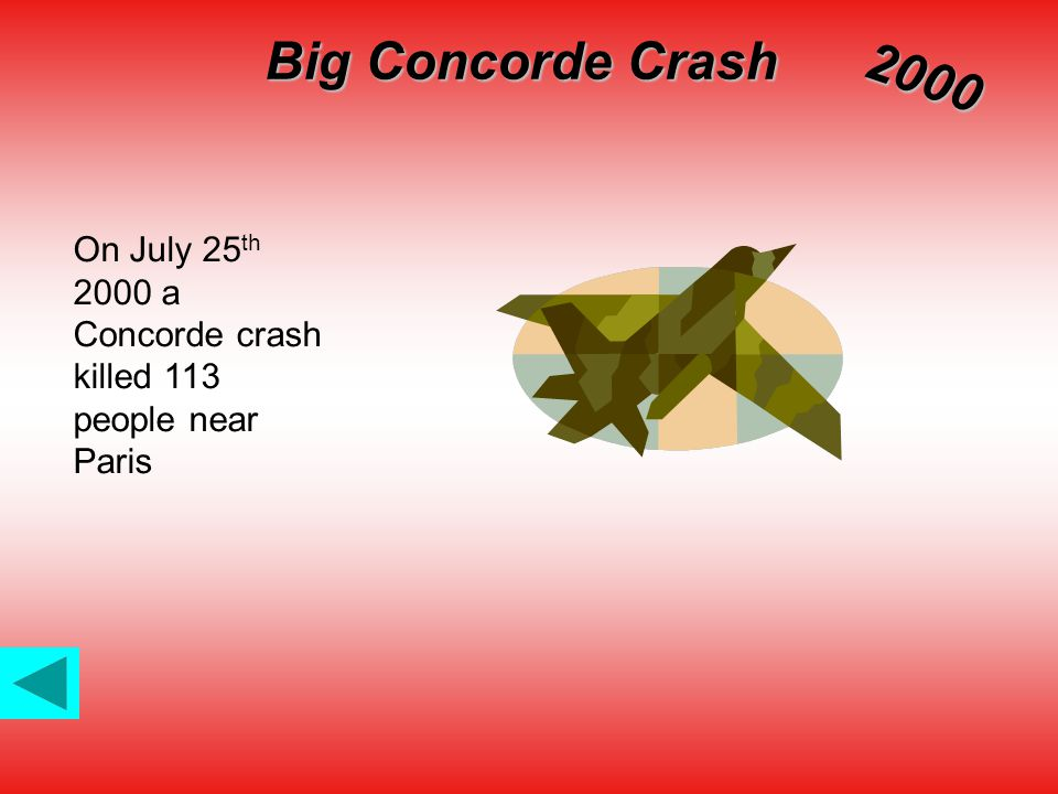 Big Concorde Crash 2000 On July 25 th 2000 a Concorde crash killed 113 people near Paris