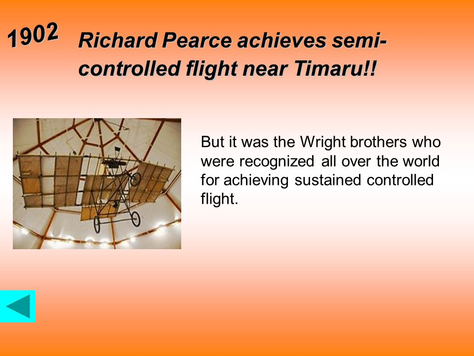 Richard Pearce achieves semi- controlled flight near Timaru!.