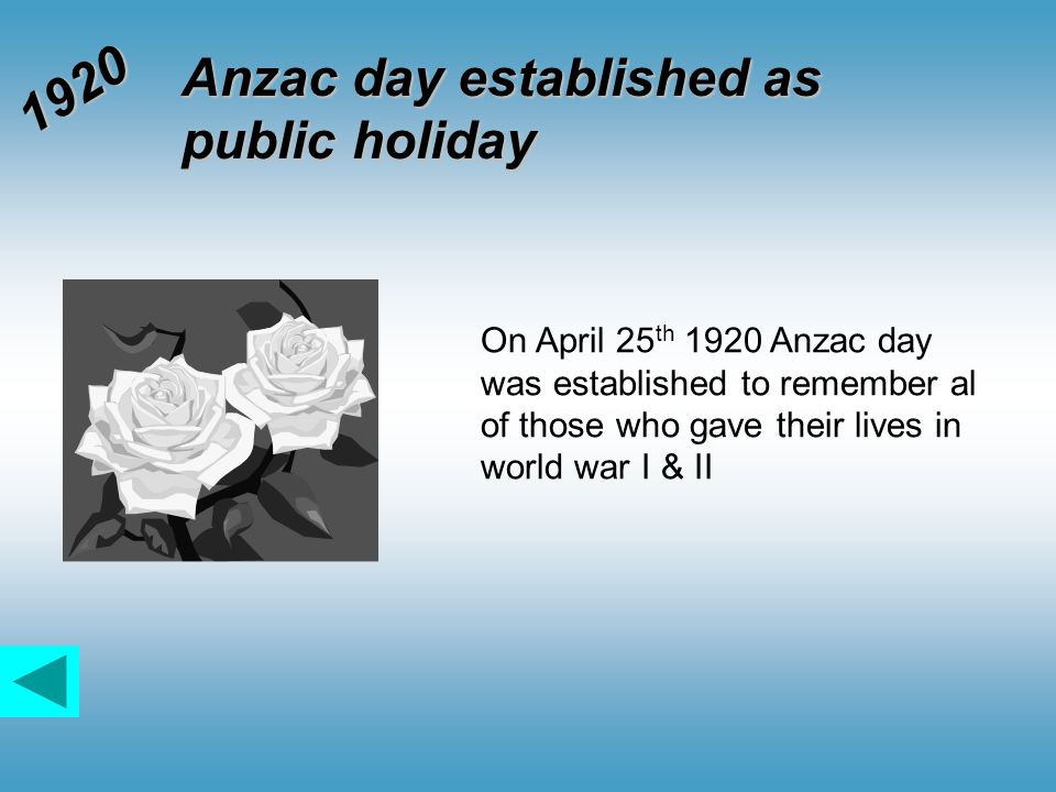 Anzac day established as public holiday 1920 On April 25 th 1920 Anzac day was established to remember al of those who gave their lives in world war I & II