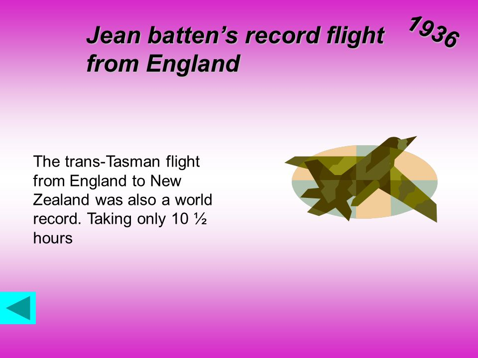 Jean batten's record flight from England 1936 The trans-Tasman flight from England to New Zealand was also a world record.