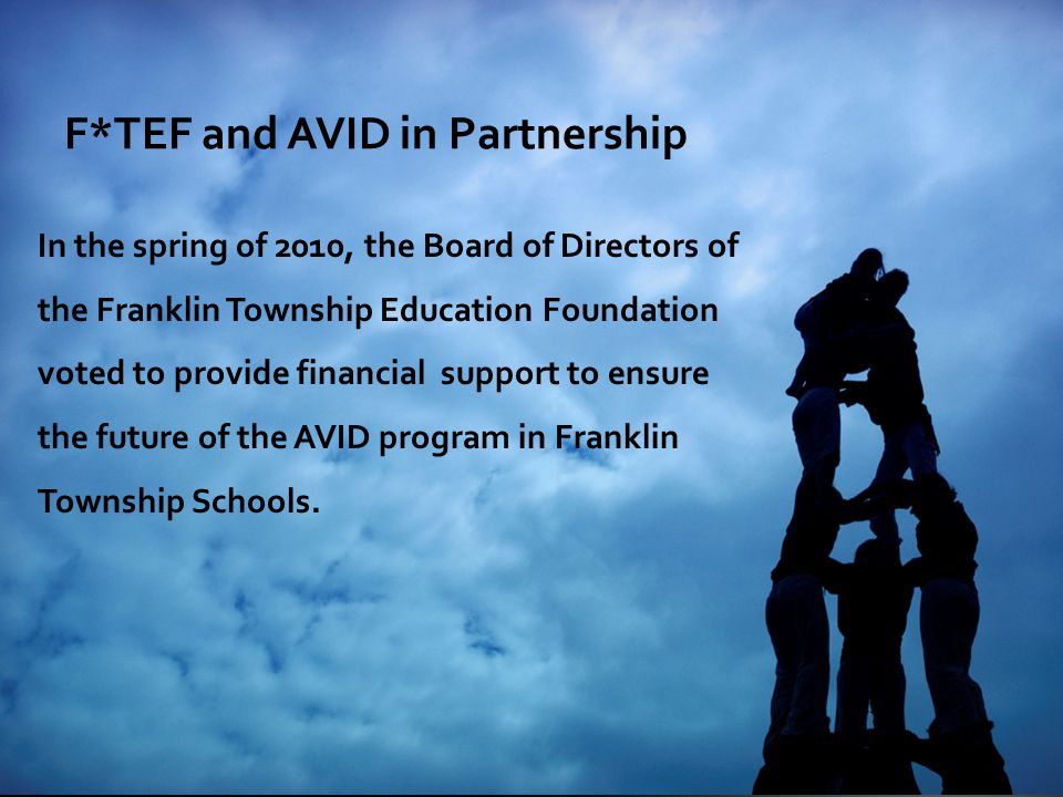 F*TEF and AVID in Partnership In the spring of 2010, the Board of Directors of the Franklin Township Education Foundation voted to provide financial support to ensure the future of the AVID program in Franklin Township Schools.