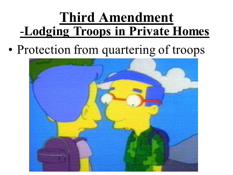 Third Amendment -Lodging Troops in Private Homes Protection from quartering of troops