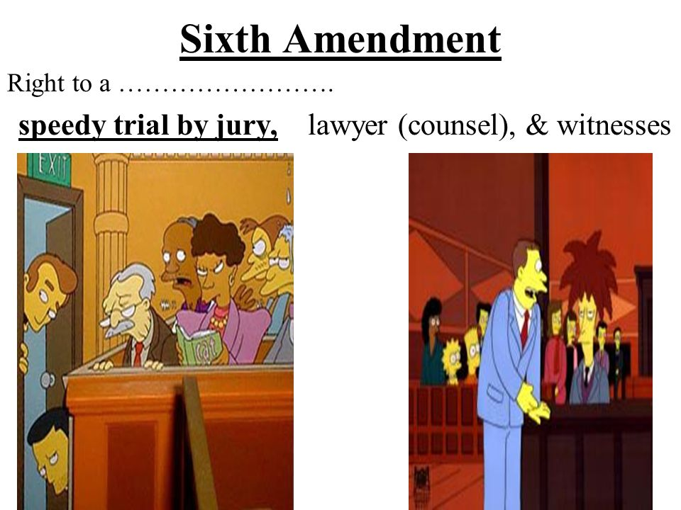 Sixth Amendment Right to a ……………………. lawyer (counsel), & witnessesspeedy trial by jury,