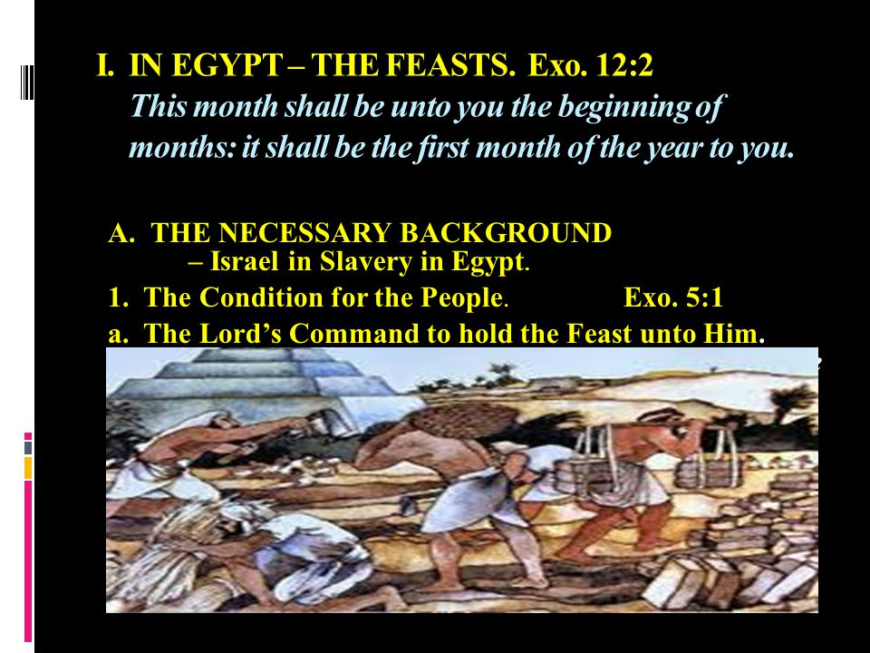WIPING OUT THE OLD AND WELCOMING THE NEW I.IN EGYPT – THE FEASTS.