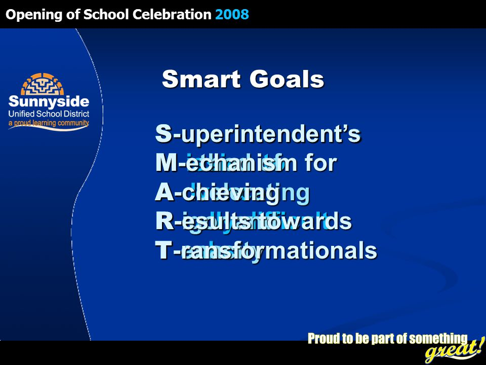 Opening of School Celebration 2008 Smart Goals S -uperintendent's M -ission to A -dvance R -eally difficult T -asks S -uperintendent's M -ethod of A -ccelerating R -igor and T -enacity S -uperintendent's M -echanism for A -chieving R -esults towards T -ransformationals