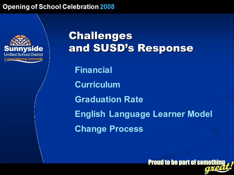 Opening of School Celebration 2008 Financial Curriculum Graduation Rate English Language Learner Model Change Process Challenges and SUSD's Response Opening of School Celebration 2008