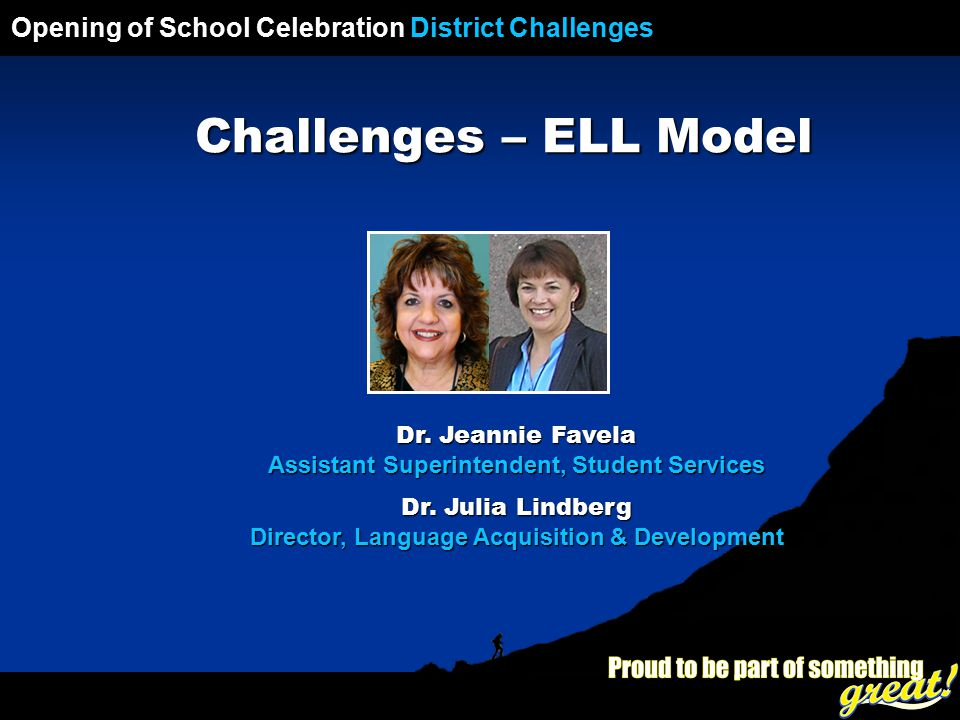 Opening of School Celebration 2008 Opening of School Celebration District Challenges Challenges – ELL Model Dr.