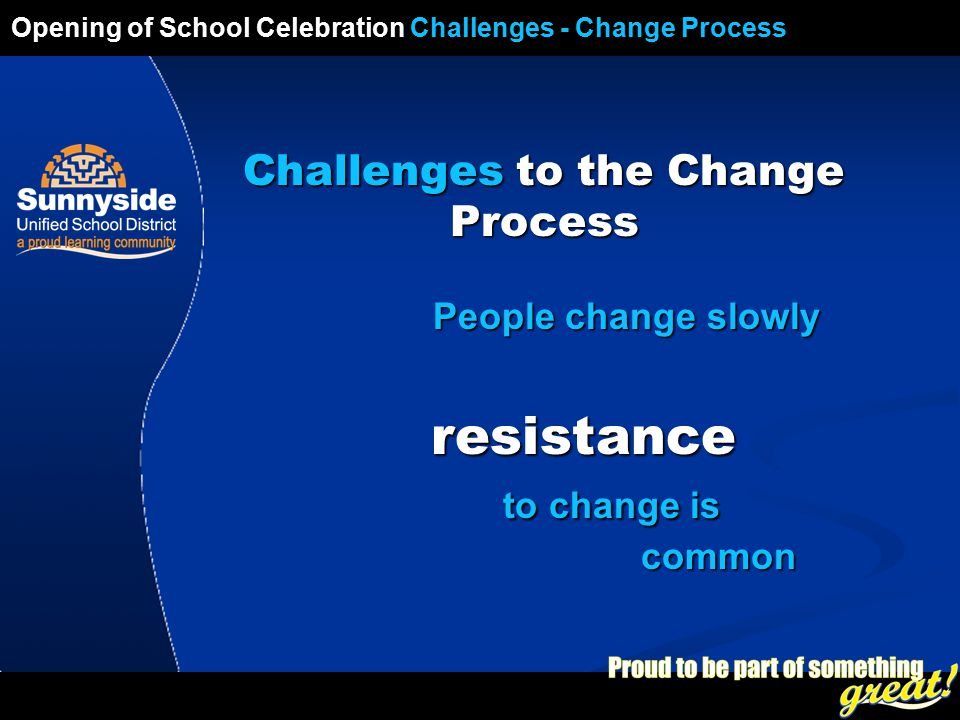 Opening of School Celebration 2008 Challenges to the Change Process People change slowly People change slowly resistance to change is common resistance to change is common Opening of School Celebration Challenges - Change Process