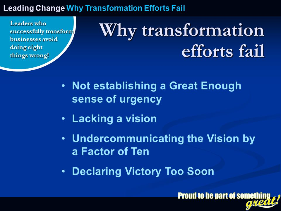 Opening of School Celebration 2008 Why transformation efforts fail Not establishing a Great Enough sense of urgency Lacking a vision Undercommunicating the Vision by a Factor of Ten Declaring Victory Too Soon Leading Change Why Transformation Efforts Fail Leaders who successfully transform businesses avoid doing eight things wrong!