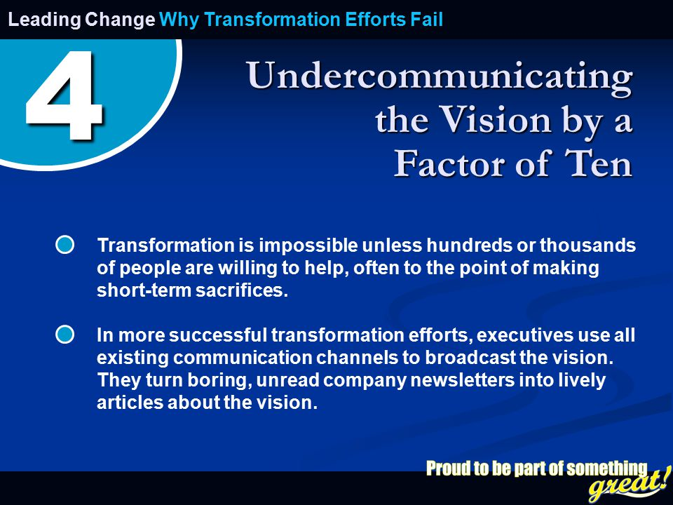 Opening of School Celebration 2008 Undercommunicating the Vision by a Factor of Ten Leading Change Why Transformation Efforts Fail Transformation is impossible unless hundreds or thousands of people are willing to help, often to the point of making short-term sacrifices.
