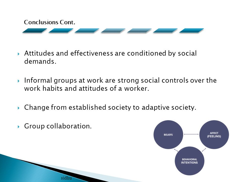  Attitudes and effectiveness are conditioned by social demands.