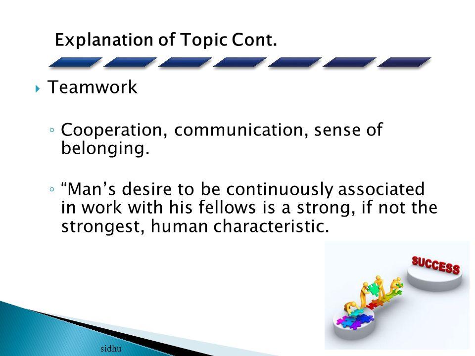  Teamwork ◦ Cooperation, communication, sense of belonging.