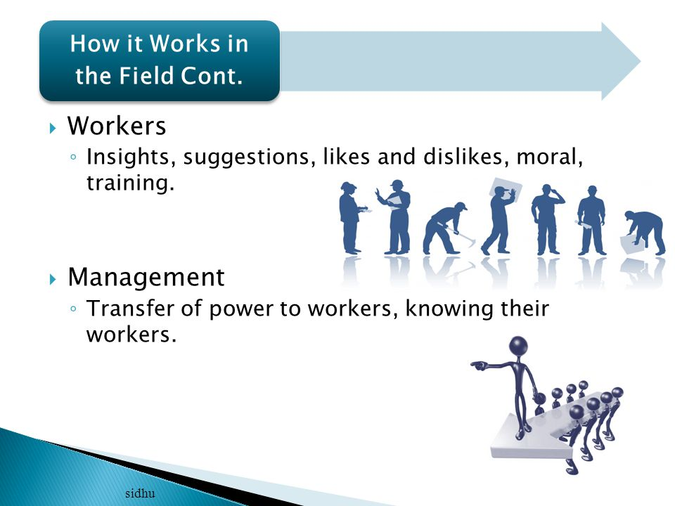  Workers ◦ Insights, suggestions, likes and dislikes, moral, training.