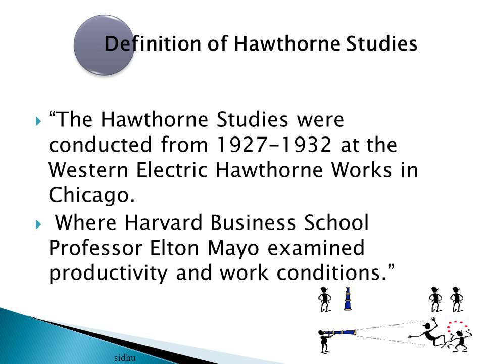  Mayo wanted to find out what effect fatigue and monotony had on job productivity and how to control them through such variables as rest breaks, work hours, temperatures and humidity. sidhu Definition of Hawthorne Studies Cont.