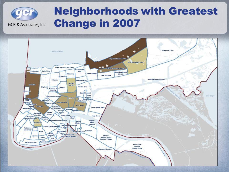 Neighborhoods with Greatest Change in 2007