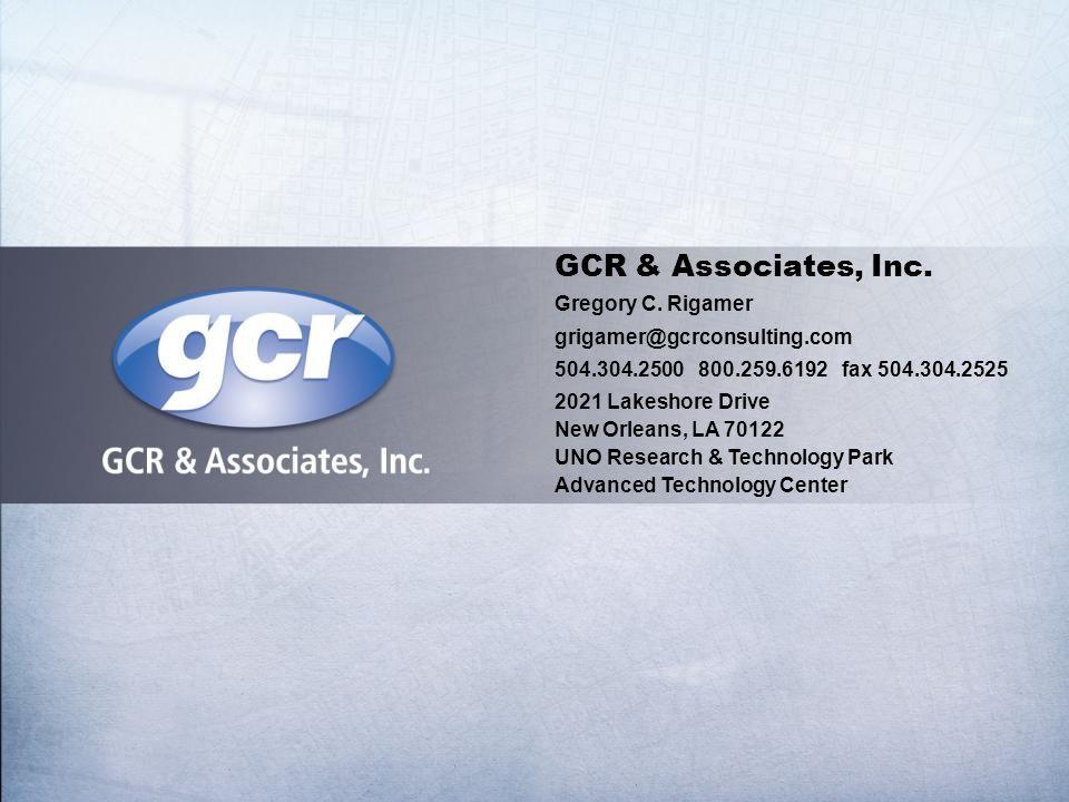 GCR & Associates, Inc. Gregory C.