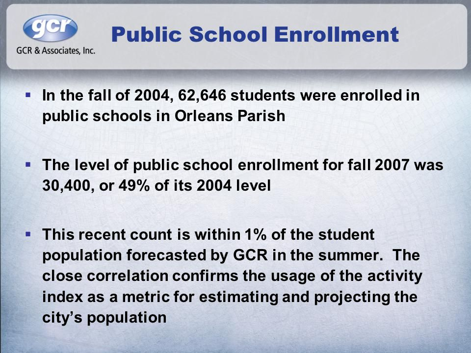 Public School Enrollment  In the fall of 2004, 62,646 students were enrolled in public schools in Orleans Parish  The level of public school enrollment for fall 2007 was 30,400, or 49% of its 2004 level  This recent count is within 1% of the student population forecasted by GCR in the summer.