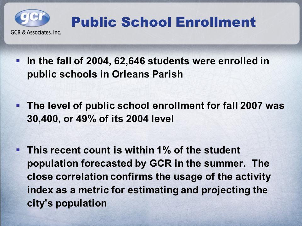 Public School Enrollment  In the fall of 2004, 62,646 students were enrolled in public schools in Orleans Parish  The level of public school enrollm