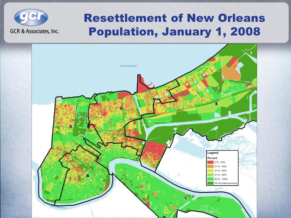Issuance of Permits, 2005-2007 During the same period, 9,371 demolition permits and 1,878 new construction permits have been approved 40,712 renovation permits have been issued Katrina