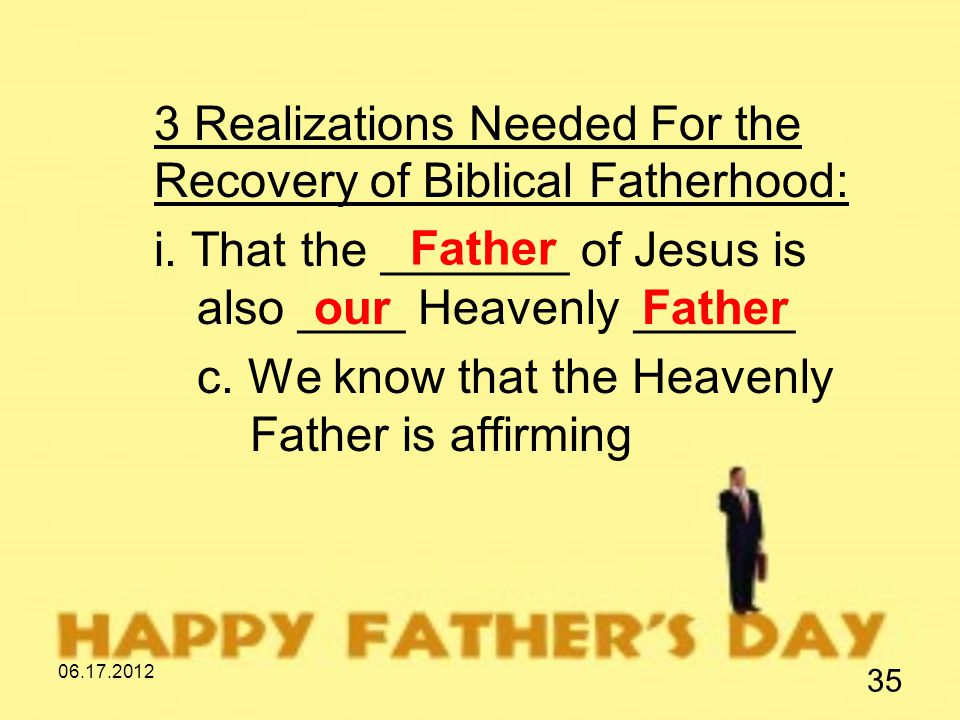06.17.2012 35 3 Realizations Needed For the Recovery of Biblical Fatherhood: i.