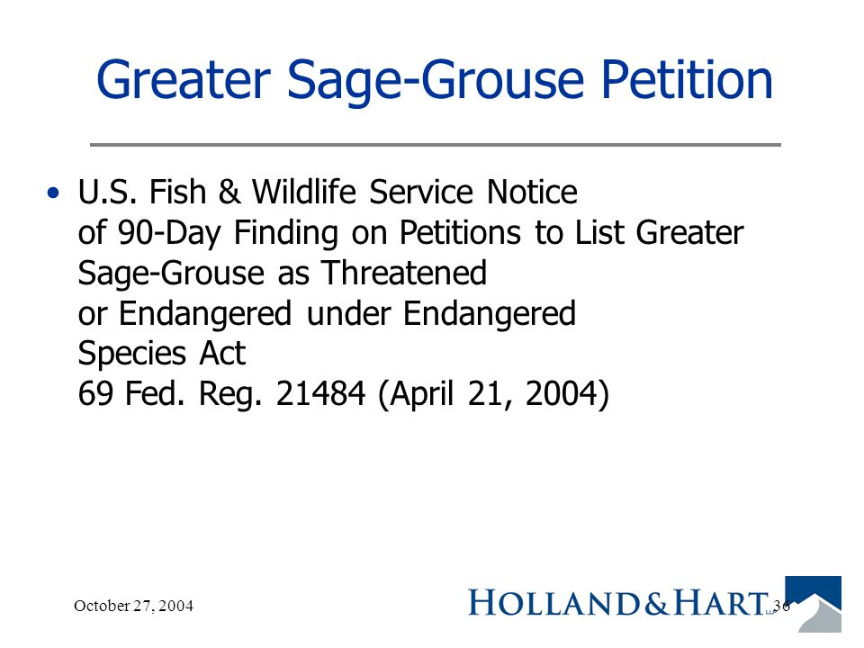 October 27, 200436 Greater Sage-Grouse Petition U.S.