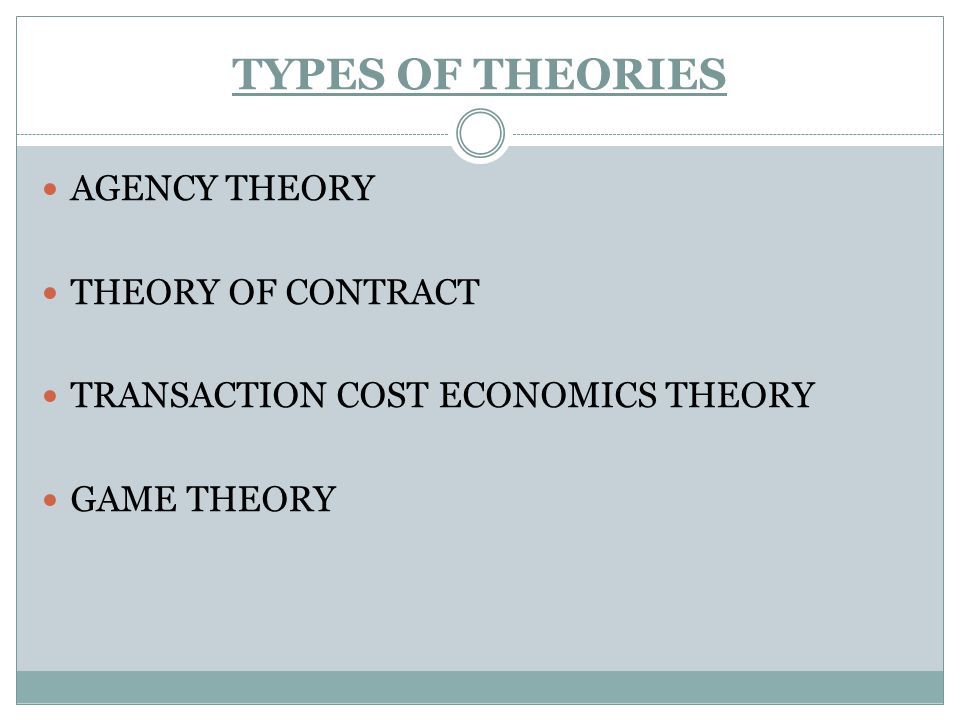 TYPES OF THEORIES AGENCY THEORY THEORY OF CONTRACT TRANSACTION COST ECONOMICS THEORY GAME THEORY