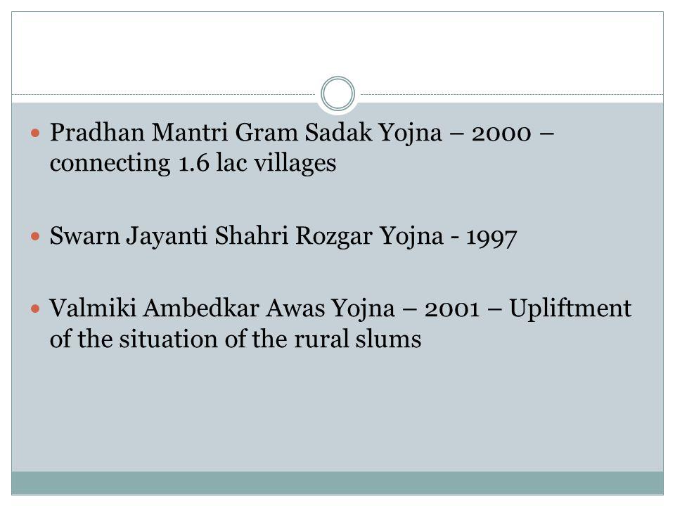 Pradhan Mantri Gram Sadak Yojna – 2000 – connecting 1.6 lac villages Swarn Jayanti Shahri Rozgar Yojna - 1997 Valmiki Ambedkar Awas Yojna – 2001 – Upliftment of the situation of the rural slums