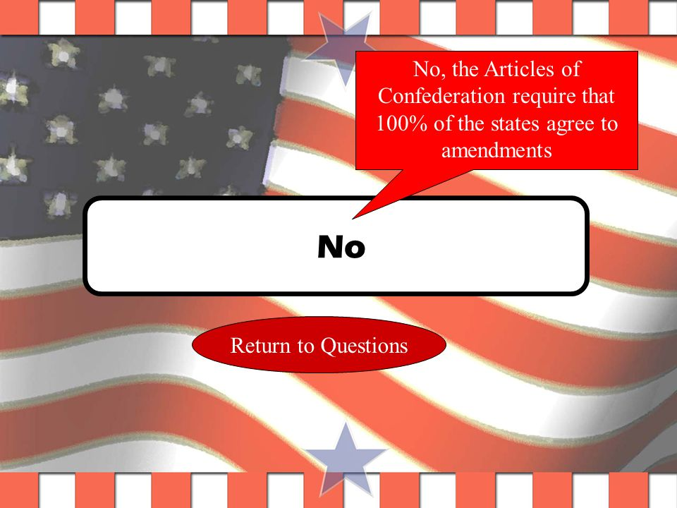 Question #7 The constitutional Convention met to Amend the Articles of Confederation, but chose to do away with them instead and write the Constitution.