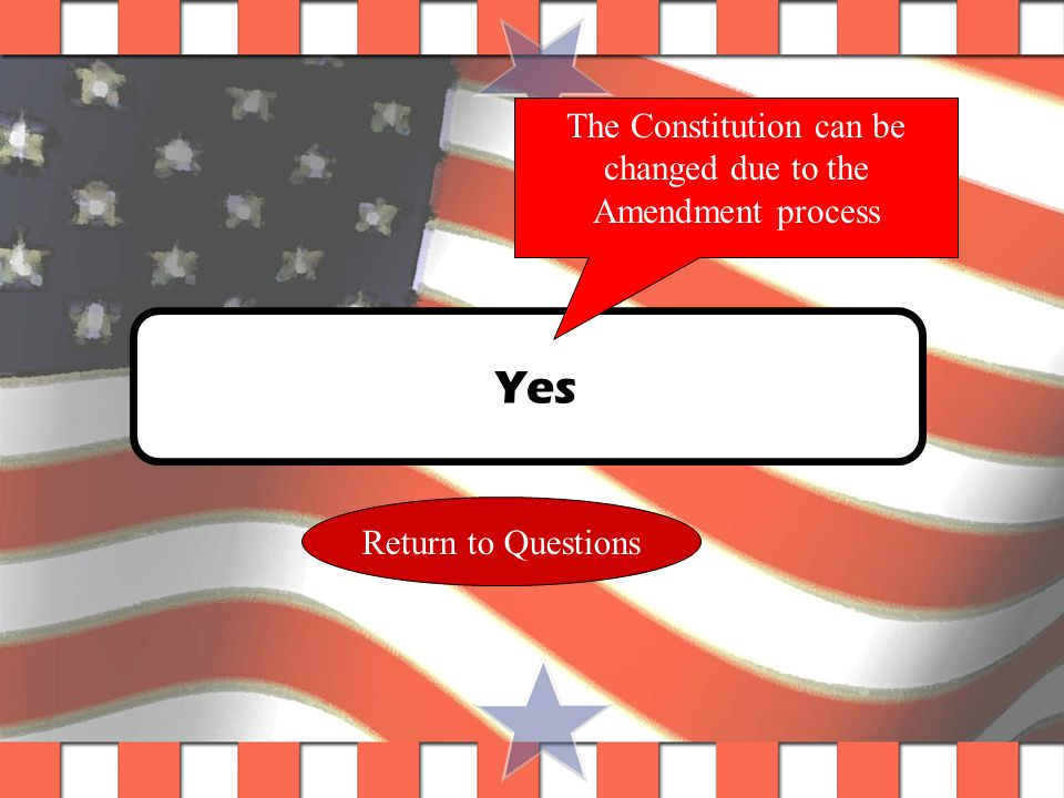 Question #8 Is the Constitution a living document? Yes No List evidence here