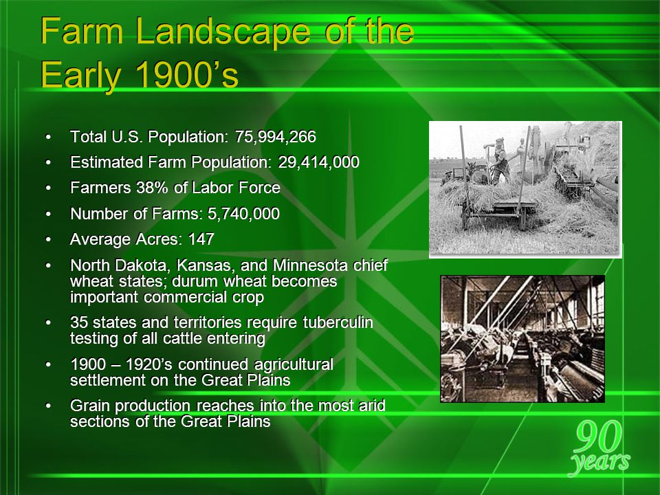 Farm Landscape of the 1960's Total Population: 180,007,000 Farm Population: 15,635,000 Farmers 8.3% of Labor Force Number of Farms: 3,711,000 Average Acres: 303 Irrigated Acres: 33,829,000 One farmer supplies food for 25.8 persons Agricultural exports $5.76 billion or 22.9% of total exports 83% of all farms have phones 98.4% have electricity Financial condition of railroads deteriorate; rail abandonments accelerate; agricultural shipments by cargo planes increase Soybean acreage expands as an alternative to other crops By 1968 – 96% of cotton harvested mechanically Total Population: 180,007,000 Farm Population: 15,635,000 Farmers 8.3% of Labor Force Number of Farms: 3,711,000 Average Acres: 303 Irrigated Acres: 33,829,000 One farmer supplies food for 25.8 persons Agricultural exports $5.76 billion or 22.9% of total exports 83% of all farms have phones 98.4% have electricity Financial condition of railroads deteriorate; rail abandonments accelerate; agricultural shipments by cargo planes increase Soybean acreage expands as an alternative to other crops By 1968 – 96% of cotton harvested mechanically