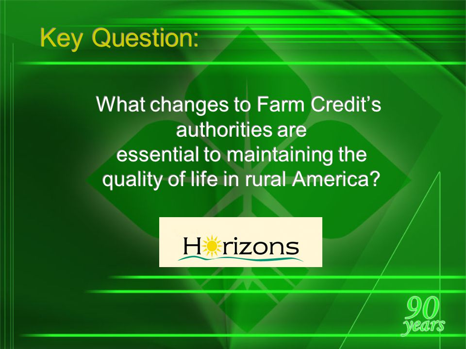 Premise of the Marketplace Assessment: Our Mission Is Not Changing To help maintain the quality of life in rural America and on the farm through const