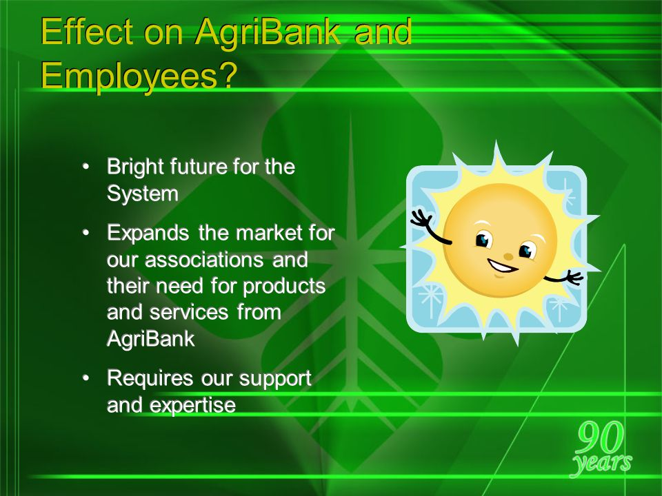 Enhance the ability of the System to serve the funding and service needs of all farmers, both full and part time Provide the System with greater ability to serve agriculturally related businesses Allow the System to invest in rural America consistent with its mission Expand partnering with banks and others to finance similar entities and other ag businesses Enhance ability to finance rural homes Enhance the ability of the System to serve the funding and service needs of all farmers, both full and part time Provide the System with greater ability to serve agriculturally related businesses Allow the System to invest in rural America consistent with its mission Expand partnering with banks and others to finance similar entities and other ag businesses Enhance ability to finance rural homes Summary of the 23 Recommendations…
