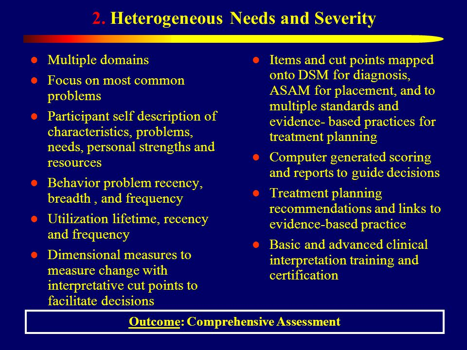 2. Heterogeneous Needs and Severity Multiple domains Focus on most common problems Participant self description of characteristics, problems, needs, p