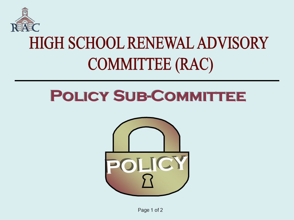 POLICY Page 1 of 2 Policy Sub-Committee